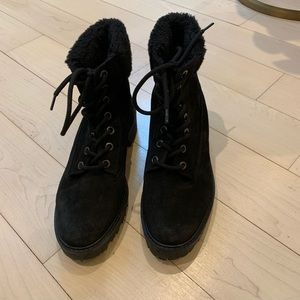Zara Faux Shearling Lined Suede Combat Boots